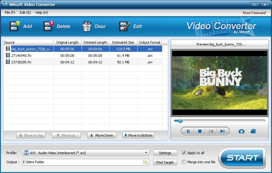 iWisoft Free Video Converter freeware screenshot